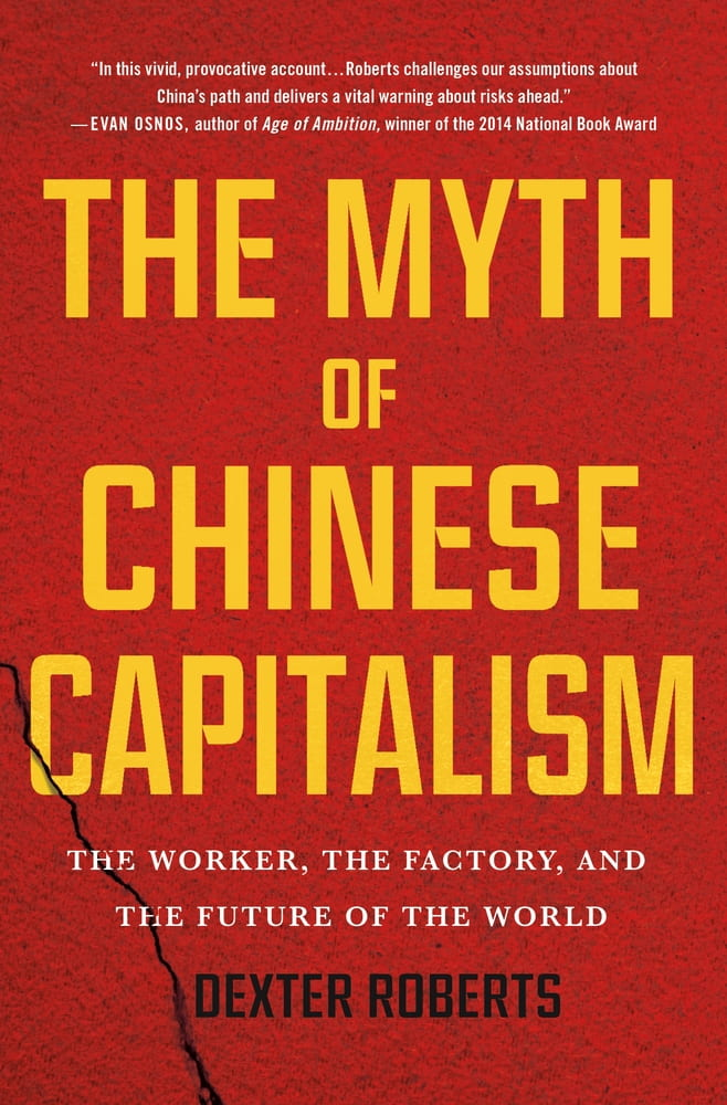"""Red cover of book with text overlay """"The Myth of Chinese Capitalism"""""""