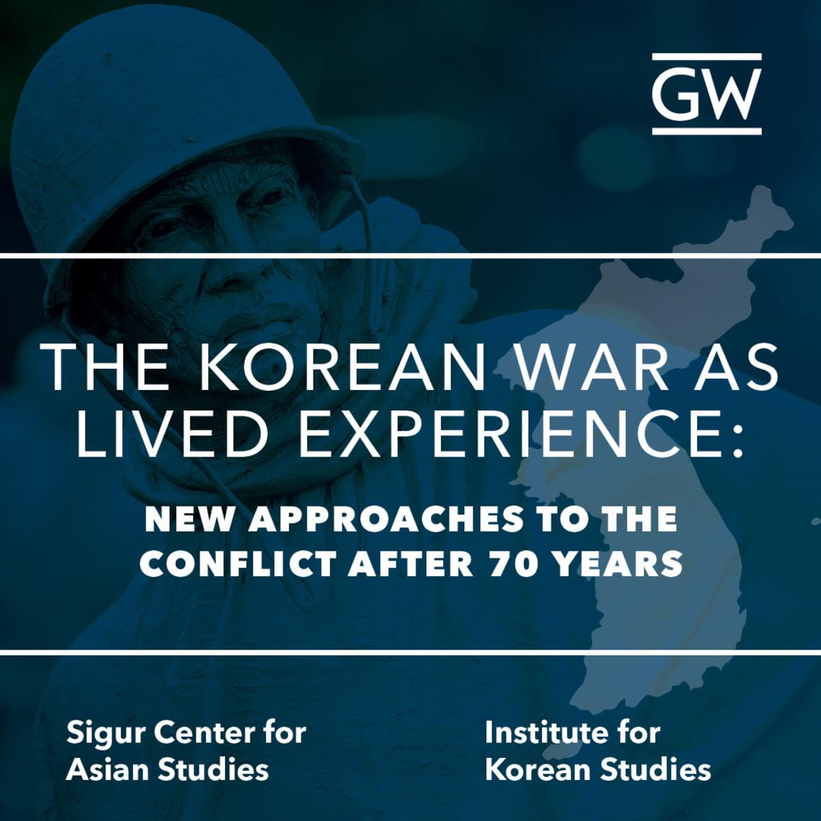 Blue square with Korean War memorial statue, Korean peninsula, and text