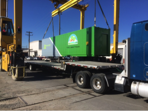 One of Vertical Harvest Hydroponic's Arctic-ready containerized growing systems being loaded onto a truck for delivery. Source: Vertical Harvest Hydroponics