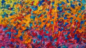 abstract red, blue, and yellow painting