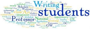 "GW Writing Center word cloud including ""writing,"" ""students,"" and ""professor."""