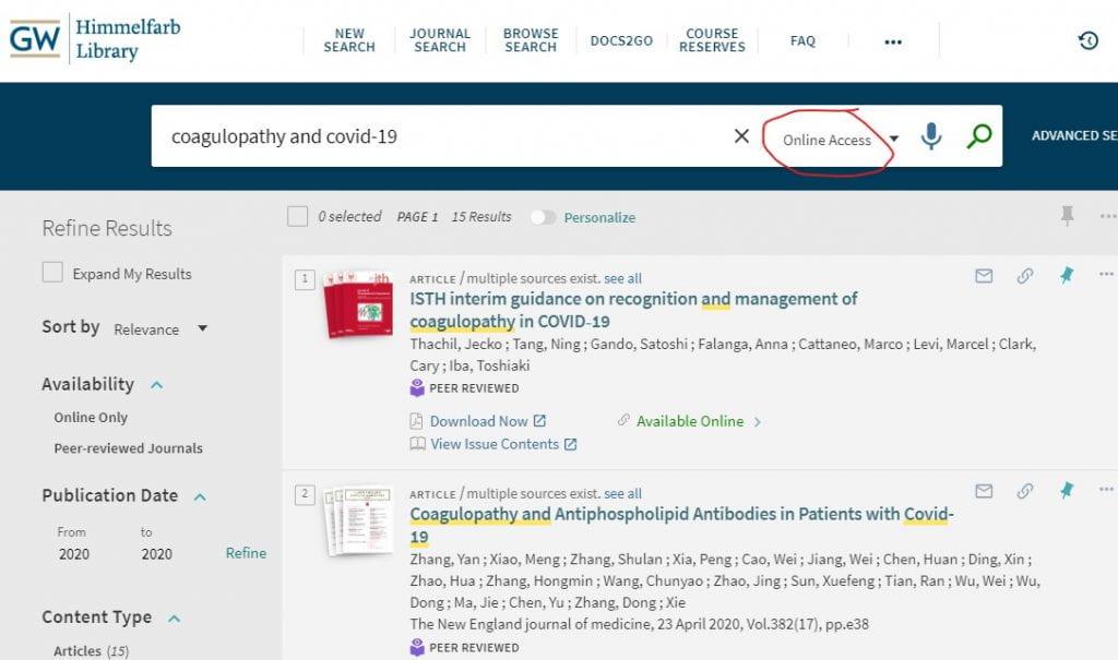 Online access search default image