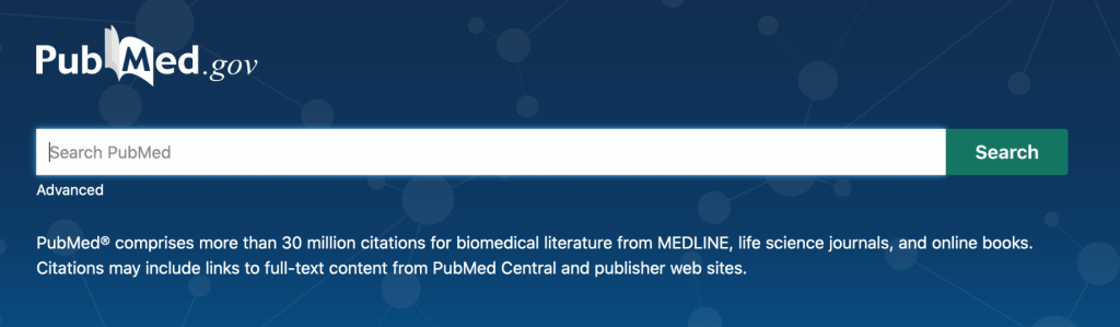 screenshot of new PubMed home page