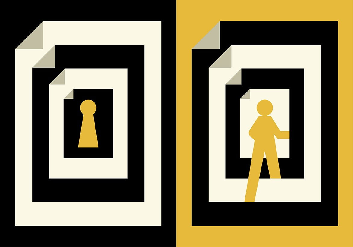 Left image: key hole. Right image: person walking through open door.