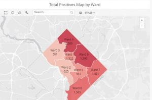 Total Positives Map by Ward image for Washington DC