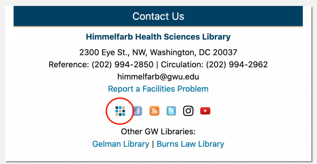 a screenshot of the himmelfarb library home page highlighting the location of the app shelf