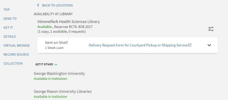 Himmelfarb Library Physical Books on Reserve Now Available for 1 Week Check Out