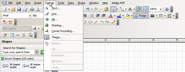 in the toolbar go to format and then theme - Visio 2007 Tutorial Pdf