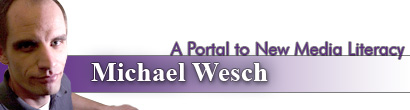image of Michael Wesch with title of presentation