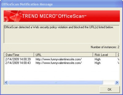 OfficeScan malicious-site warning