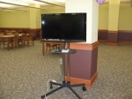 A large-screen collaborative technology cart in the K-State InfoCommons
