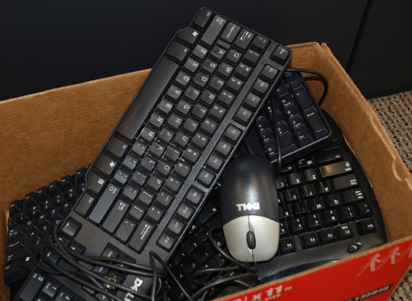 Box of keyboards with mouse (photo by Betsy Edwards)