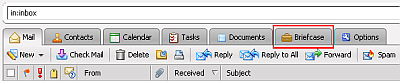 screenshot of Briefcase feature in K-State Zimbra webmail