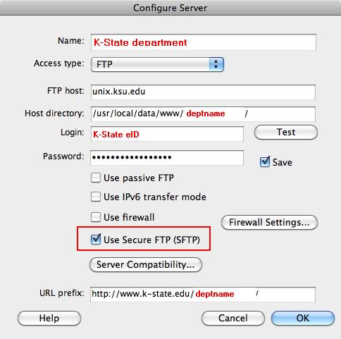 screenshot of Dreamweaver's secure-FTP selection