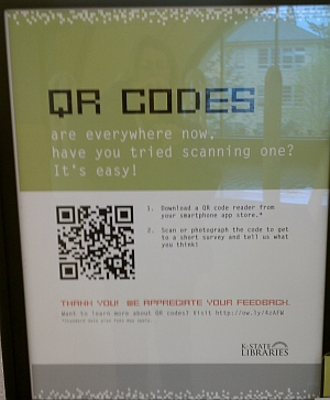 Photo of QRcode poster at Hale Library