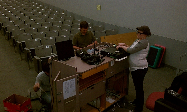 photo of podium tear-down in Umberger 105 classroom renovation