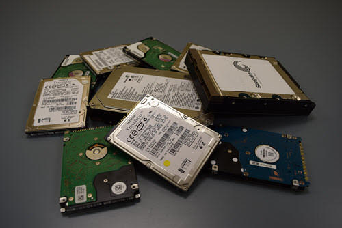 illustration of old hard drives