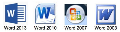 Word for WIndows logos 2003-2013. Created by Betsy Edwards
