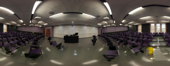 Completed renovation of Waters 231 technology classroom, with link to panorama view