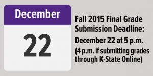 Dec. 22 deadline fall 2015 grade submission