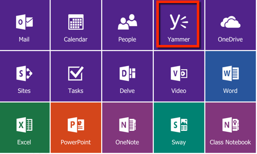 Yammer in Office 365 app launcher