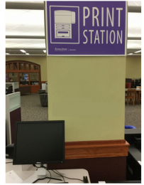 Print station in Hale Library