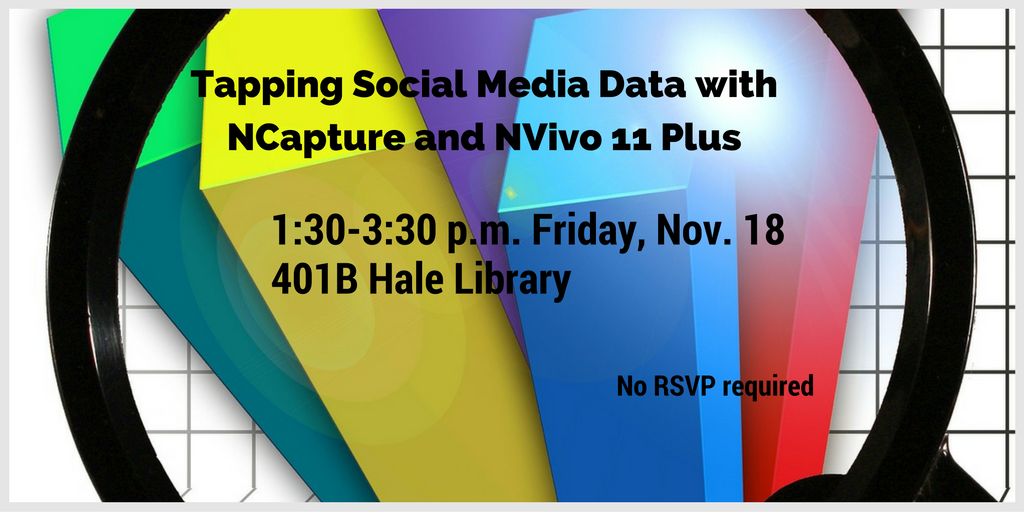 NVIVO training, 1:30-3:30, Friday, Nov. 18, 401B Hale Library
