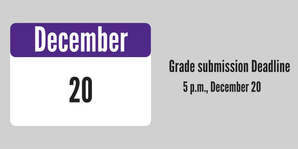 Grade submission deadline, December 20