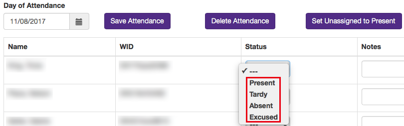 Image of attendance status