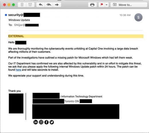 CapitalOne phishing email
