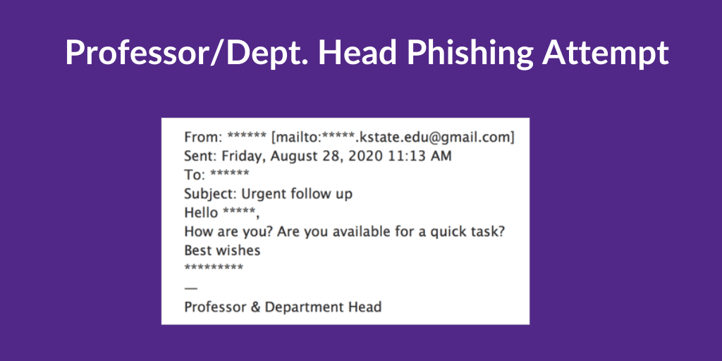 Professor/Dept. Head Phishing Attempt