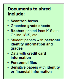 Documents to shred include scantron forms; greenbar grade sheets; rosters printed from K-State Online, iSIS, etc.; student papers with personal identity information and grades; data with credit card information; personnel files; other sensitive papers with identity or financial information
