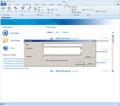 Screenshot of NVivo page with New Project window