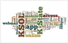 Text-based (Wordle) image illustrating apps that students would like to be more mobile-friendly: KSOL (K-State Online, webmail, iSIS, etc.