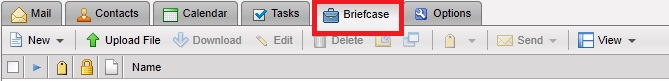 Briefcase tab in Zimbra webmail