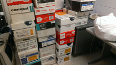 photo of 15+ boxes of paper materials received for secure disposal during K-State Shred Day