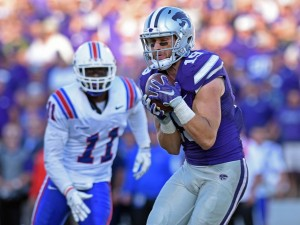 Kody Cook caught a pass from Joe Hubener and scored the game-winning touchdown in the K-State-Louisiana Tech game Sept. 19.
