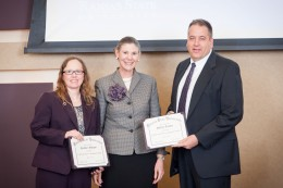 Pictured left to right: Heather Morgan, Project 17 director; April Mason, K-State Provost; and Jeff Tucker, director of the Advanced Manufacturing Institute.