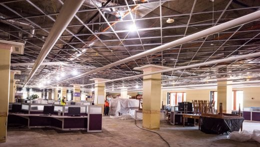 Second floor of Hale Library after the carpet and ceiling tiles were torn out.