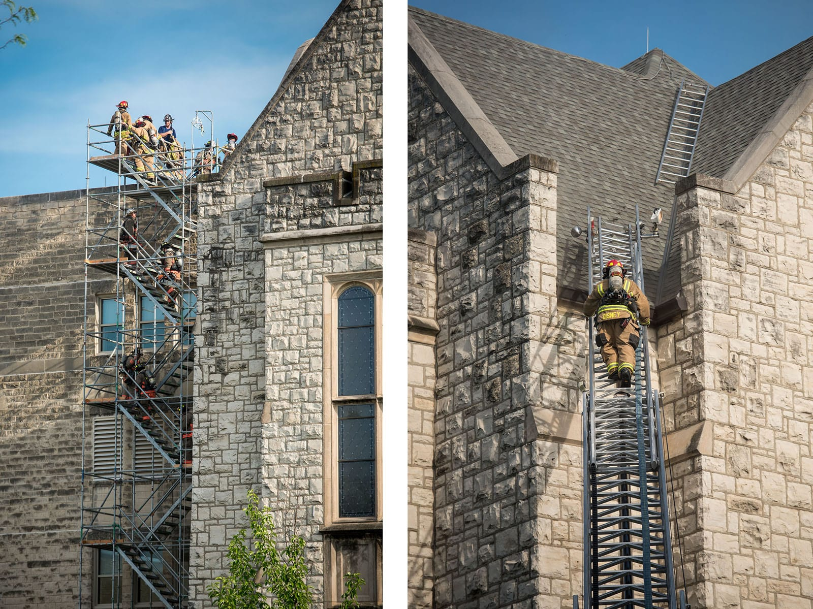 Two side-by-side photos show firefighters climbing to the roof to fight the fire.