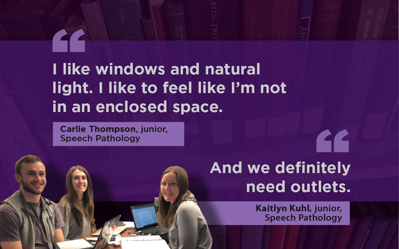 "A group of three students sits in the lower left in front of a graphic purple background with two quotes: ""I like windows and natural light,"" and ""We definitely need outlets."""