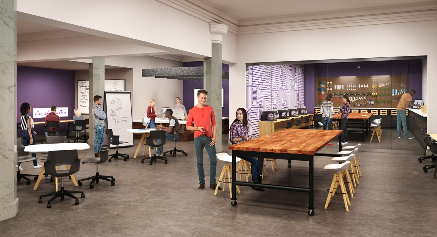 A computer-generated rendering shows a dozen students scattered around a large room that features tables and chairs of different styles, computer screens, white boards, and a tool board hung with tools in a makerspace setting.