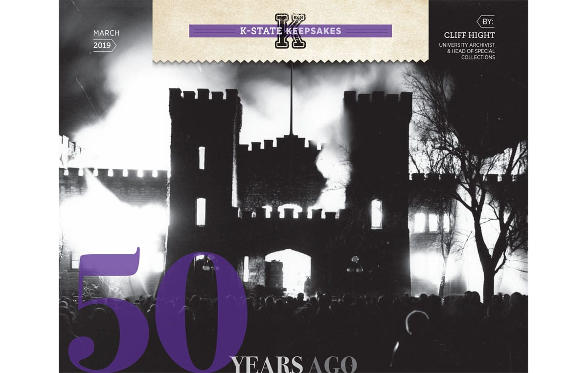 "A black-and-white photo of a castle-style building engulfed in flames is overlaid with text reading ""50 years ago"""
