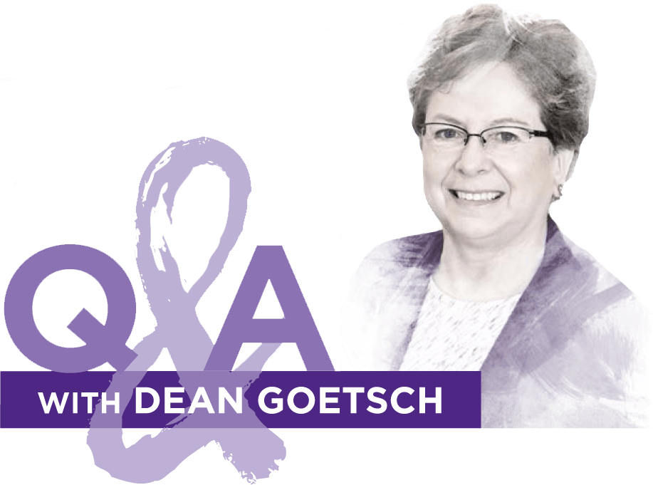 "A gray watercolor-style portrait of a woman with short hair and glasses sits next to a graphic reading ""Q&A with Dean Goetsch."""