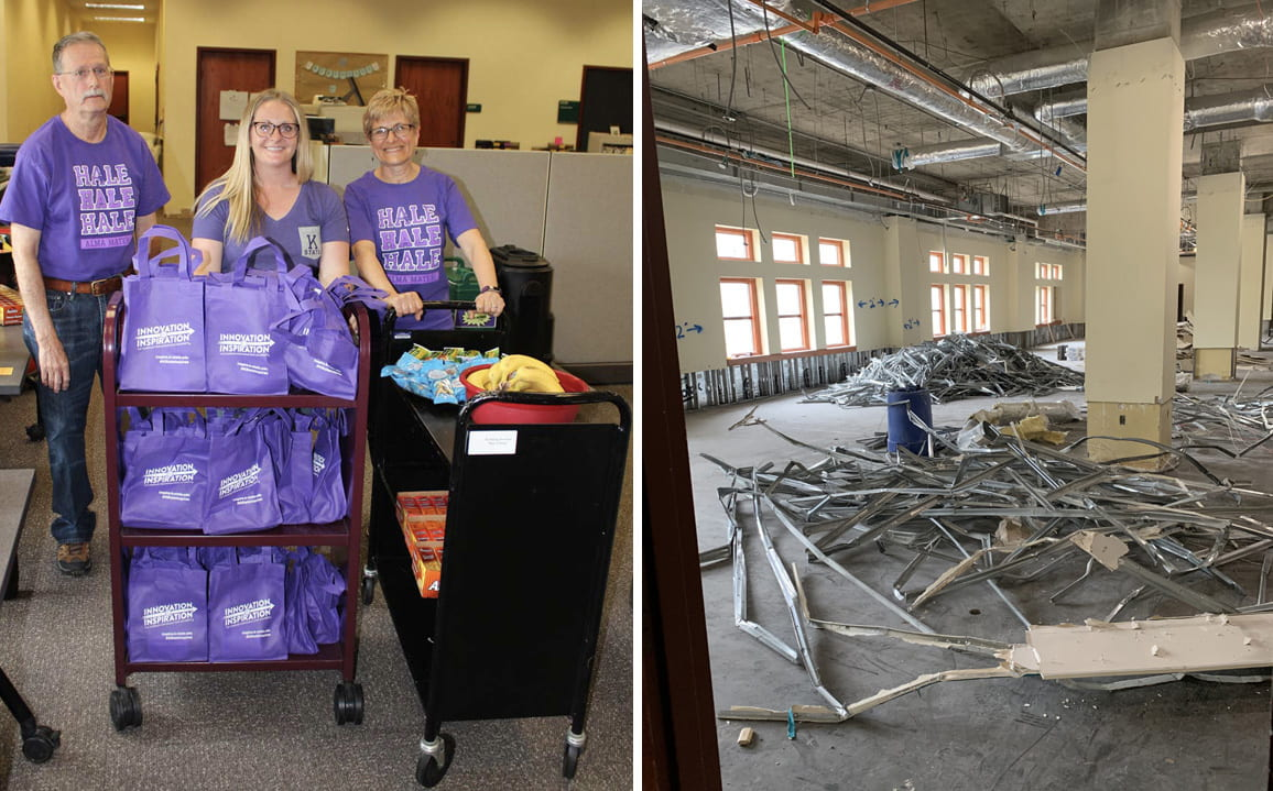 Three librarians in purple t-shirts stand by carts loaded with purple tote bags and snacks. At right, the same room is empty except for metal construction debris.