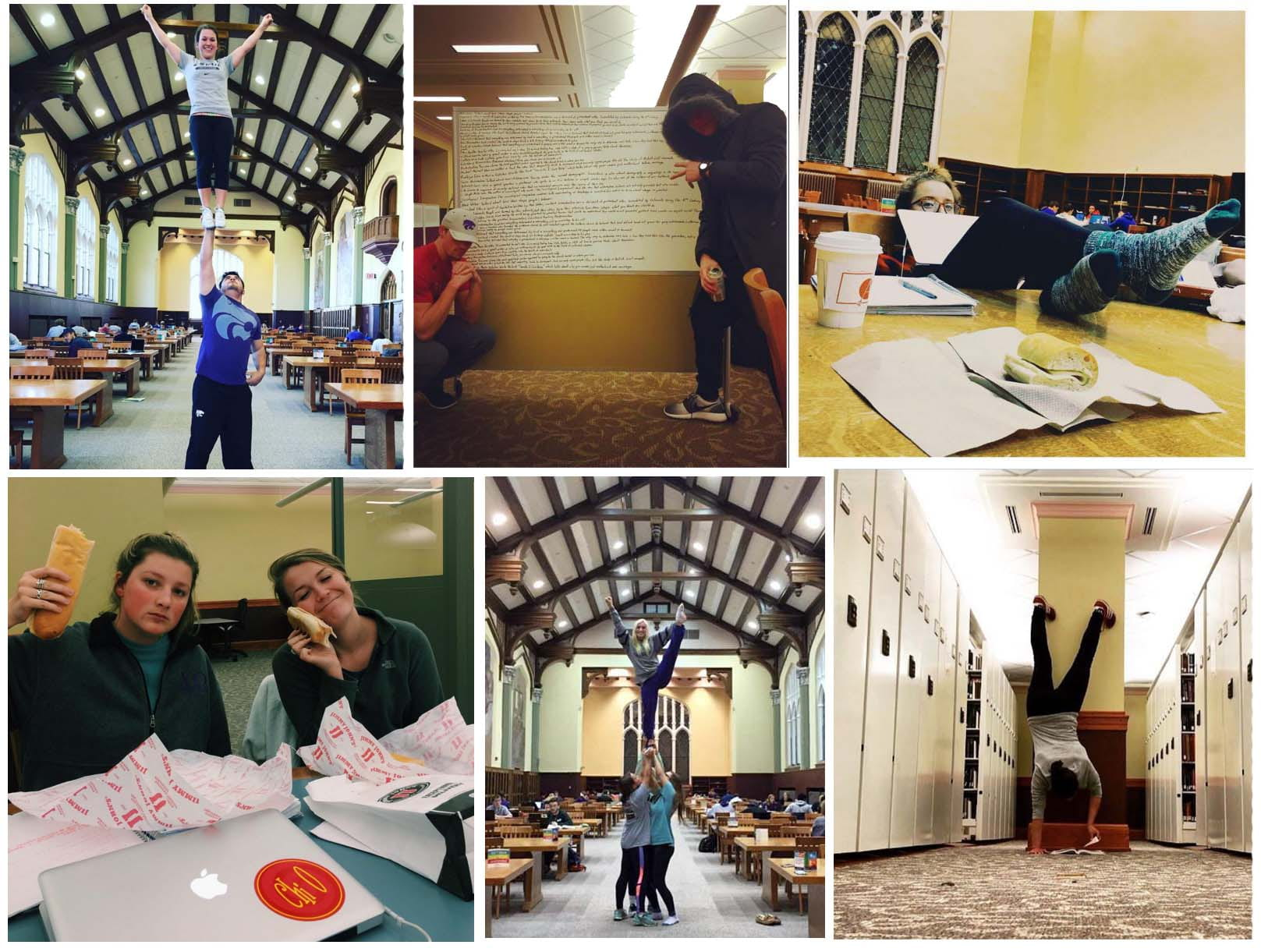 A collage of K-State students in different parts of Hale Library.