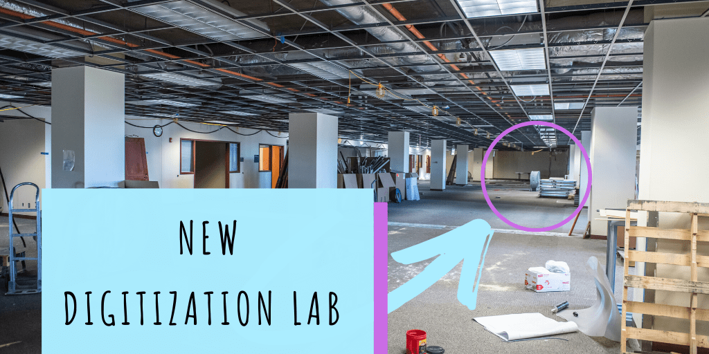 Large open space on fifth floor of Hale Library with an arrow that points to the location of the new digitization lab.