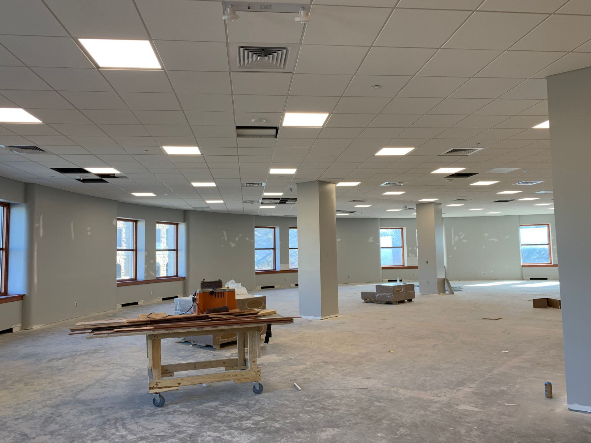 The east end of Hale Library's second floor has sheetrock and ceiling installed, but not flooring