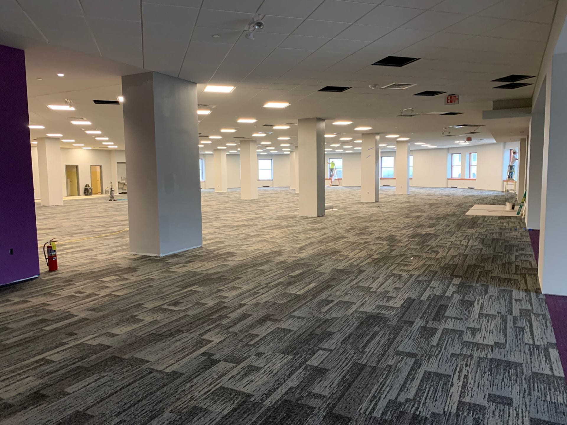 New carpet can be seen throughout the second floor of Hale Library.