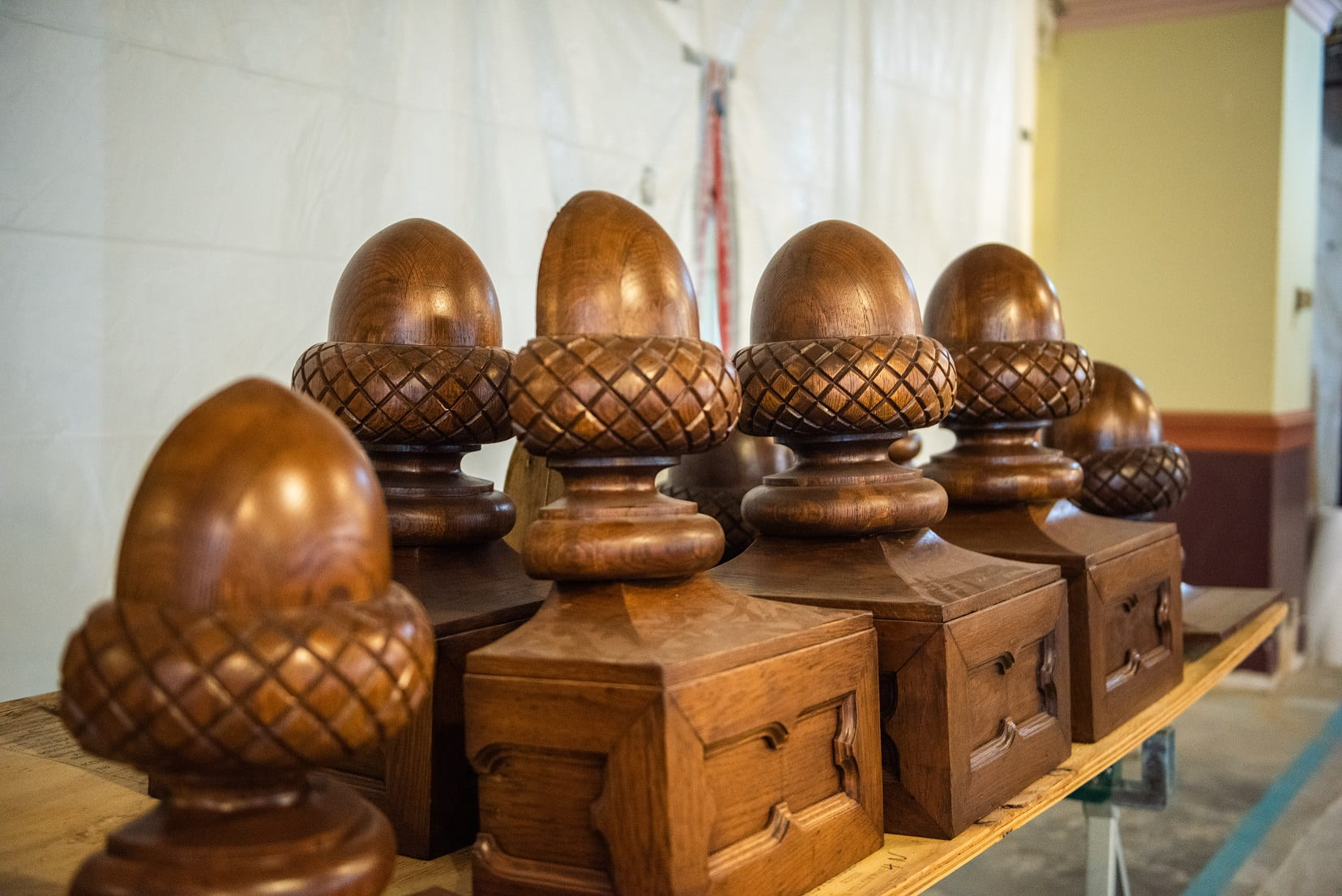 A picture of the repaired and varnished acorns.